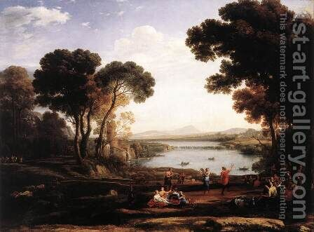 Landscape With Dancing Figures (The Mill) by Claude Lorrain (Gellee) - Reproduction Oil Painting