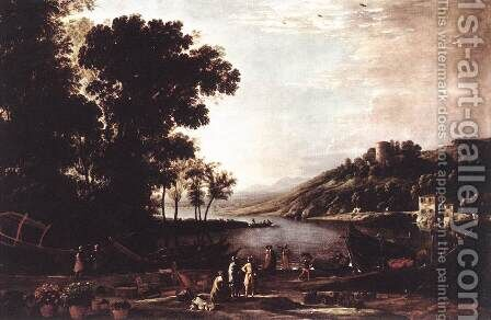 Landscape with Merchants c. 1630 by Claude Lorrain (Gellee) - Reproduction Oil Painting