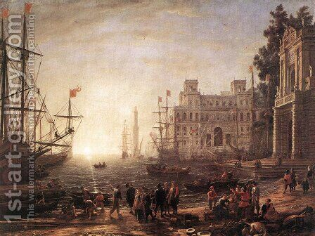 Port Scene with the Villa Medici 1637 by Claude Lorrain (Gellee) - Reproduction Oil Painting