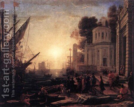 The Disembarkation of Cleopatra at Tarsus 1642-43 by Claude Lorrain (Gellee) - Reproduction Oil Painting