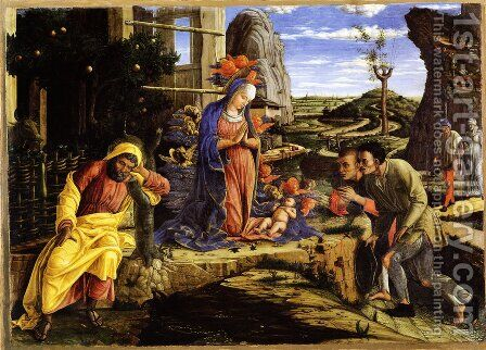 The Adoration of the Shepherds c. 1451-53 by Andrea Mantegna - Reproduction Oil Painting