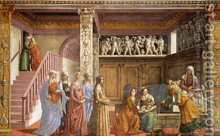 Birth Of Mary by Domenico Ghirlandaio - Reproduction Oil Painting