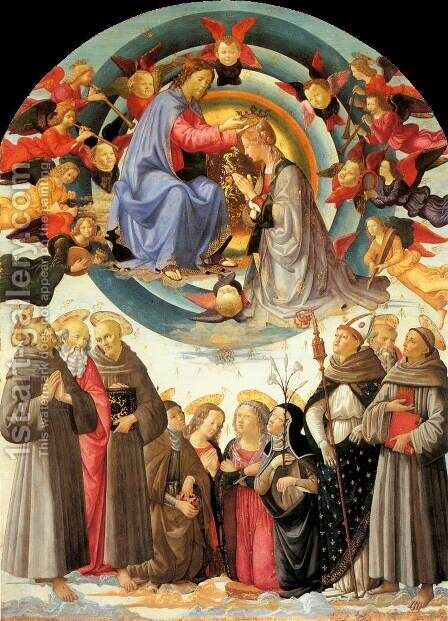 Coronation of the Virgin 1486 by Domenico Ghirlandaio - Reproduction Oil Painting