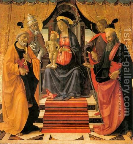 Madonna and Child Enthroned with Saints c. 1479 by Domenico Ghirlandaio - Reproduction Oil Painting
