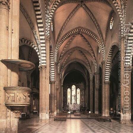 View Along The Nave To The Tornabuoni Chapel by Domenico Ghirlandaio - Reproduction Oil Painting