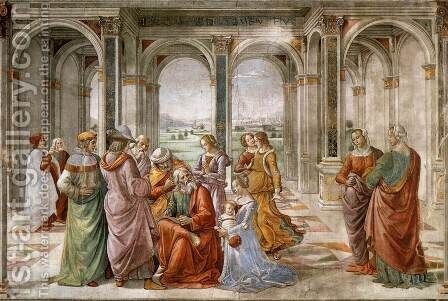 Zacharias Writes Down The Name Of His Son by Domenico Ghirlandaio - Reproduction Oil Painting