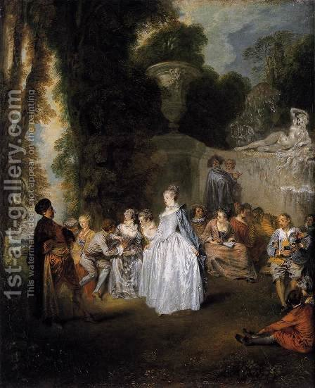 Fetes Venitiennes 1718-19 by Jean-Antoine Watteau - Reproduction Oil Painting