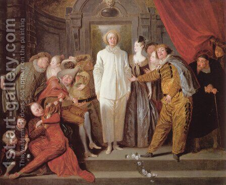 Italian Comedians c. 1720 by Jean-Antoine Watteau - Reproduction Oil Painting