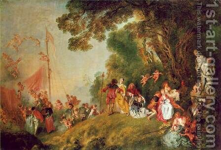 Pilgrimage to Cythera 1717 by Jean-Antoine Watteau - Reproduction Oil Painting