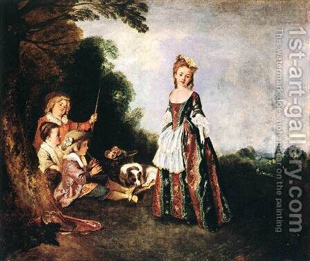 The Dance 1716-18 by Jean-Antoine Watteau - Reproduction Oil Painting