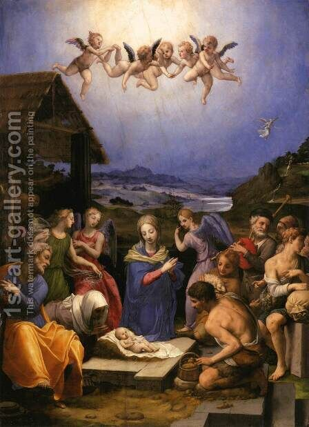Adoration of the Shepherds 1535-40 by Agnolo Bronzino - Reproduction Oil Painting