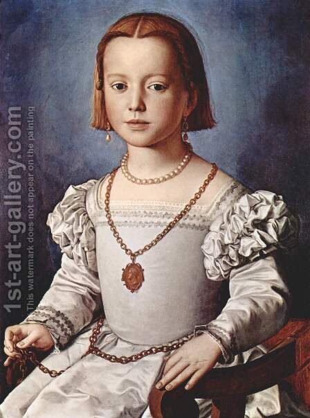 Bia, The Illegitimate Daughter of Cosimo I de' Medici c. 1542 by Agnolo Bronzino - Reproduction Oil Painting