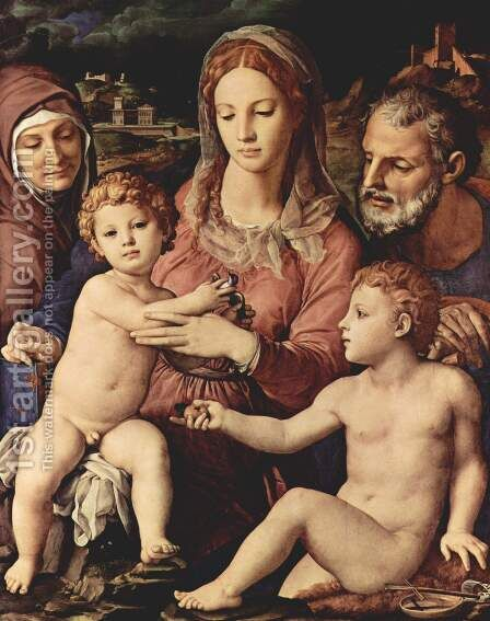 Holy Family 1534-40 by Agnolo Bronzino - Reproduction Oil Painting