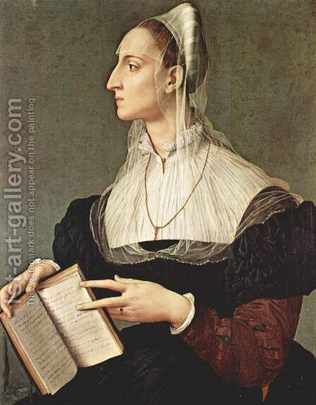 Laura Battiferri 1555-60 by Agnolo Bronzino - Reproduction Oil Painting