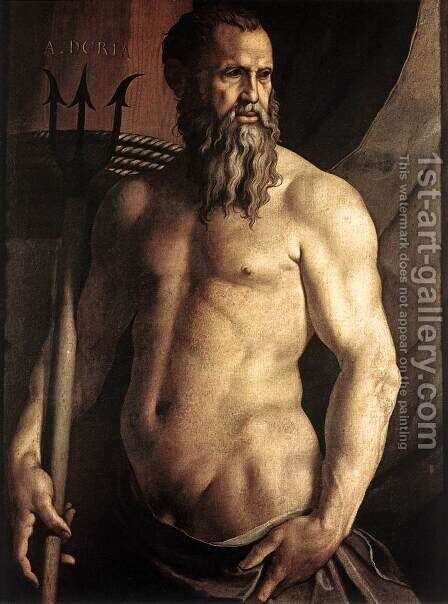 Portrait of Andrea Doria as Neptune 1550-55 by Agnolo Bronzino - Reproduction Oil Painting