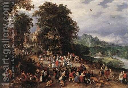 A Flemish Fair 1610s by Jan The Elder Brueghel - Reproduction Oil Painting