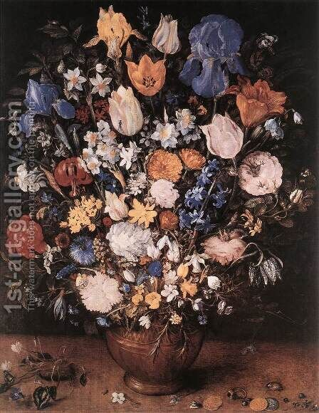 Bouquet in a Clay Vase 1599-1607 by Jan The Elder Brueghel - Reproduction Oil Painting