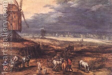 Landscape with Windmills c. 1607 by Jan The Elder Brueghel - Reproduction Oil Painting