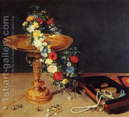 Still-Life with Garland of Flowers and Golden Tazza 1618 by Jan The Elder Brueghel - Reproduction Oil Painting