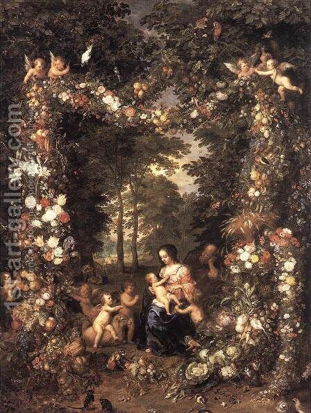 The Holy Family c. 1623 by Jan The Elder Brueghel - Reproduction Oil Painting