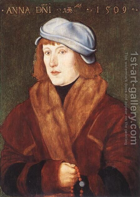 Portrait Of A Young Man With A Rosary 1509 by Hans Baldung  Grien - Reproduction Oil Painting