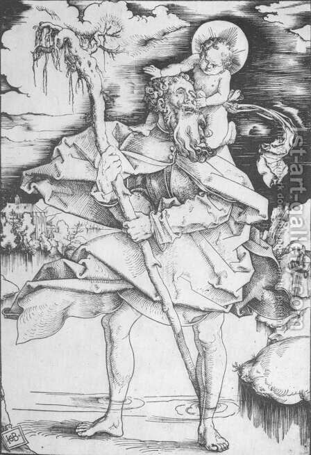 St Christopher 1514 by Hans Baldung  Grien - Reproduction Oil Painting