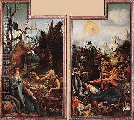 Visit of St Antony to St Paul and Temptation of St Antony c. 1515 by Matthias Grunewald (Mathis Gothardt) - Reproduction Oil Painting