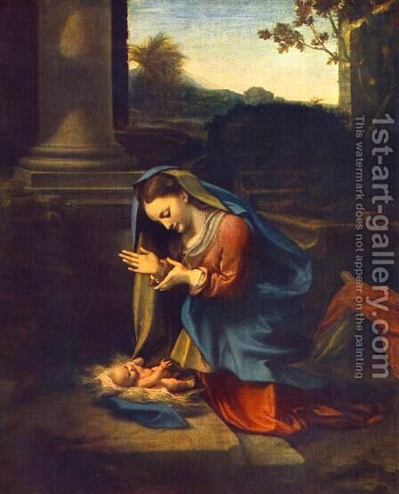 The Adoration of the Child 1518 by Correggio (Antonio Allegri) - Reproduction Oil Painting