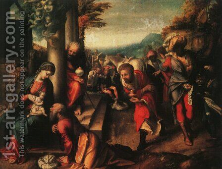 The Adoration of the Magi 1516 by Correggio (Antonio Allegri) - Reproduction Oil Painting