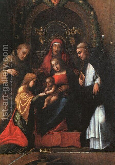 The Mystic Marriage of St. Catherine-2 1510 by Correggio (Antonio Allegri) - Reproduction Oil Painting