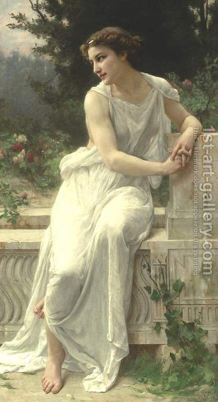 Young Woman Of Pompeii On A Terrace by Guillaume Seignac - Reproduction Oil Painting