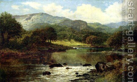 A Wooded River Landscape by Benjamin Williams Leader - Reproduction Oil Painting