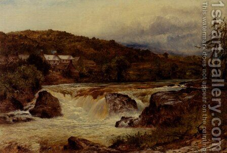 Near Bettws Y Coed  The Junction Of The Conway And The Llugwy by Benjamin Williams Leader - Reproduction Oil Painting