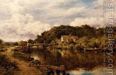 On The Stour Near Flatford Mill  Suffolk by Benjamin Williams Leader - Reproduction Oil Painting