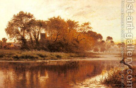 The Last Gleam  Wargrave On Thames by Benjamin Williams Leader - Reproduction Oil Painting