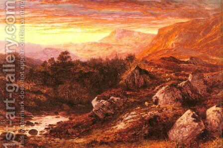 The Valley Of The Lleder  North Wales by Benjamin Williams Leader - Reproduction Oil Painting