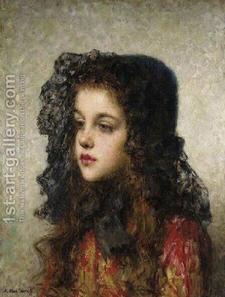 Little Girl With Head Dress by Alexei Alexeivich Harlamoff - Reproduction Oil Painting