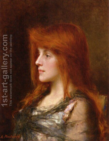 Portrait Of A Young Beauty by Alexei Alexeivich Harlamoff - Reproduction Oil Painting