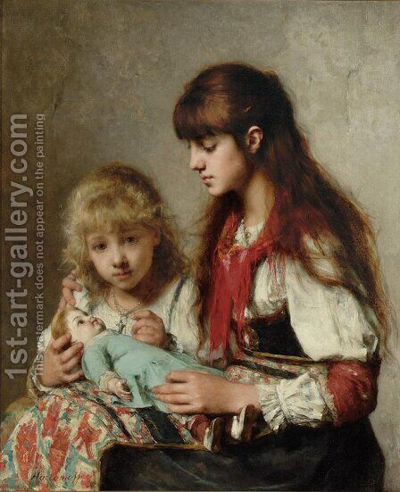 Sisters by Alexei Alexeivich Harlamoff - Reproduction Oil Painting