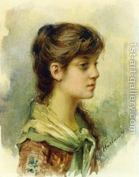 The Artists Daughter2 by Alexei Alexeivich Harlamoff - Reproduction Oil Painting