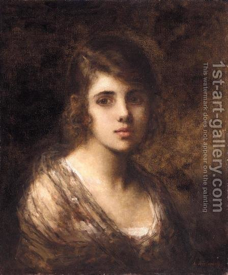 Young Brunette by Alexei Alexeivich Harlamoff - Reproduction Oil Painting