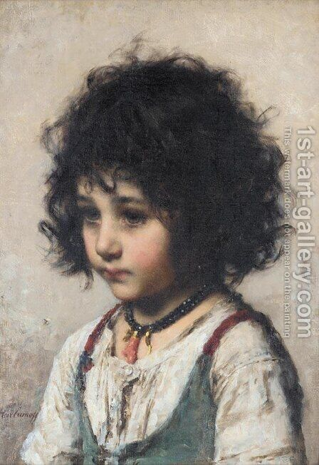 Young Girl by Alexei Alexeivich Harlamoff - Reproduction Oil Painting
