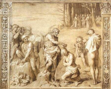 Baptism Of The People by Andrea Del Sarto - Reproduction Oil Painting