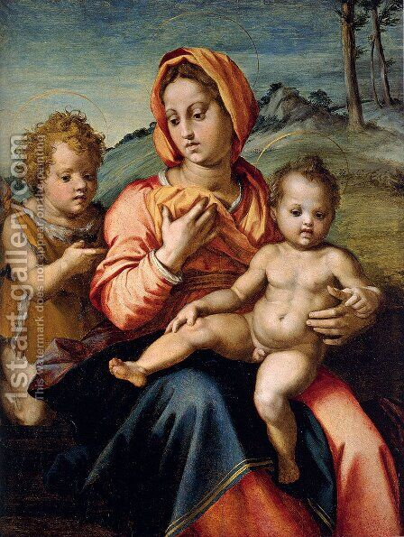 Madonna And Child With The Infant Saint John In A Landscape by Andrea Del Sarto - Reproduction Oil Painting
