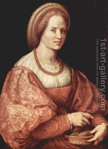 Portrait of a Woman with a Basket of Spindles 1517 by Andrea Del Sarto - Reproduction Oil Painting