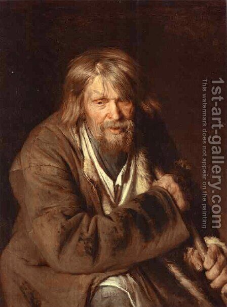 Portrait Of An Old Peasant (study) by Ivan Nikolaevich Kramskoy - Reproduction Oil Painting