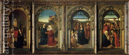 Polyptych Showing The Annunciation  The Visitation  The Adoration Of The Angels And The Adoration Of The Kings by Dieric the Elder Bouts - Reproduction Oil Painting