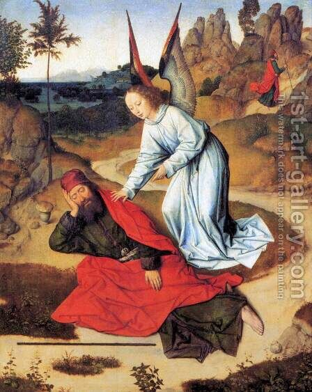 Prophet Elijah in the Desert 1464-68 by Dieric the Elder Bouts - Reproduction Oil Painting