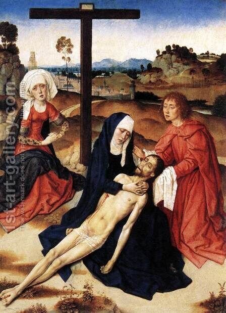 The Lamentation of Christ c. 1460 by Dieric the Elder Bouts - Reproduction Oil Painting
