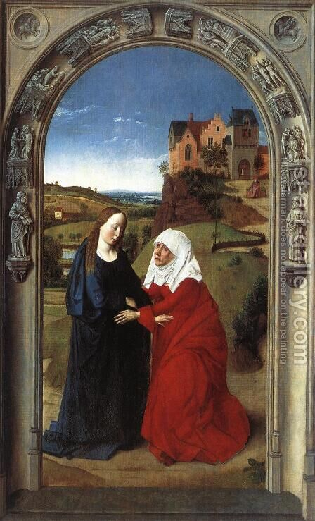The Visitation c. 1445 by Dieric the Elder Bouts - Reproduction Oil Painting